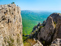 Hiker in crimea on the top mountains Stock Image