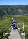 Hiker Descending Stairs on Gros Morne Mountain Stock Image