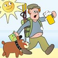 Hiker and dog a tourist with a map refreshing beer next to him go a Royalty Free Stock Images