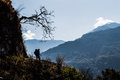 Hiker Enjoying the View Along the Everest Base Camp Trek Between Jiri and Lukl