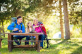 Hiker family look something interesting Royalty Free Stock Photo