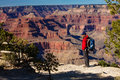 A hiker in the Grand Canyon National Park, South Rim Royalty Free Stock Photo
