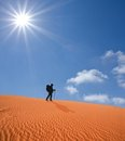Hiker in a hot desert Royalty Free Stock Photo