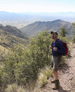 A Hiker on the Huachuca Mountain Crest Trail Royalty Free Stock Photo