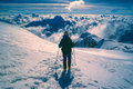 Hiker on huayna potosi descending from top of mountain in bolivia Royalty Free Stock Photography