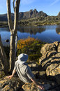 Hiker in Lake St Clair National Park, Tasmania Stock Photos