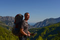 Hiker with map the lycian trail a on the pass Stock Photo