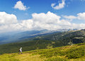 Hiker in the mountain Royalty Free Stock Photo