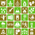 Hiker and mountain icons Stock Image
