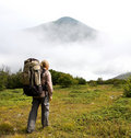 Hiker in mountains Royalty Free Stock Images