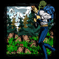 Hiker in the mountains comic book style illustrated Stock Image