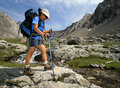 Hiker with Poles near Mountain Creek Stock Photography