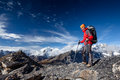 Hiker posing at camera on the trek in himalayas nepal Royalty Free Stock Photos