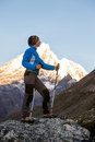 Hiker posing at camera on the trek in himalayas nepal Royalty Free Stock Image