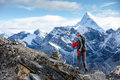 Hiker posing at camera on the trek in himalayas nepal Royalty Free Stock Photography