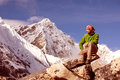 Hiker rests on the trek in himalayas nepal Royalty Free Stock Photography