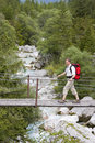 Hiker with rucksack Stock Photography