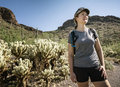 Hiker in Saguaro National Park Royalty Free Stock Photo