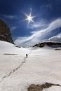 Hiker in snowy mountains turkey central taurus aladaglar anti taurus plateau edigel yedi goller Stock Image
