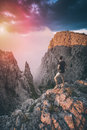 Hiker standing above the mountain canyon. Instagram stylization Royalty Free Stock Photo