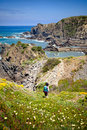Hiker trail hiking coast portugal rota vicentina springtime Stock Photography