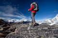 Hiker on the trek in himalayas khumbu valley nepal Royalty Free Stock Photo