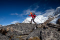 Hiker on the trek in himalayas khumbu valley nepal Royalty Free Stock Photography