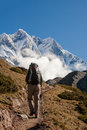 Hiker on the trek in himalayas khumbu valley nepal Stock Photography