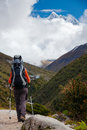 Hiker on the trek in himalayas khumbu valley nepal Royalty Free Stock Image