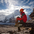Hiker on the trek in himalayas khumbu valley nepal Stock Images