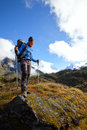 Hiker on the trek in himalayas khumbu valley nepal asia Royalty Free Stock Photos