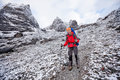 Hiker on the trek in himalayas khumbu valley nepal asia Stock Images