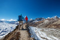 Hiker on the trek in Himalayas, Khumbu valley Royalty Free Stock Photo