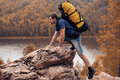 Hiker trekking in the mountains up Royalty Free Stock Photo