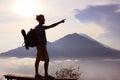 Hiker walking mountain path. Sunrise on top Royalty Free Stock Photo