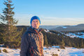 Hiker in winter Royalty Free Stock Photo