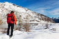 Hiker Winter Mountain Lake Royalty Free Stock Photography