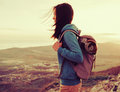 Hiker young woman outdoor Royalty Free Stock Photo