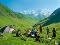 Hikers eat breakfast at the camp in mountains svaneti georgia Stock Images