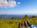 Hikers enjoying the view on round bald roan mountain state park north carolina Royalty Free Stock Image
