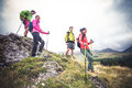 Hikers on excursion Royalty Free Stock Photo