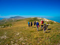 image photo : Hikers group trekking in Crimea