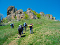 Hikers group trekking in crimea mountains Stock Photo