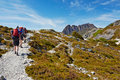 Hikers on overland trail cradle mountain tasmania the in national park Stock Image