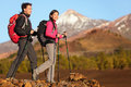 Hikers people hiking healthy active lifestyle hiker in beautiful mountain nature landscape woman and men Stock Photos