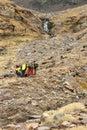 Hikers on trek in Sierra Nevada mountains Royalty Free Stock Photo