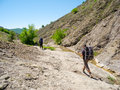 Hikers trekking in the crimea mountains Stock Photo