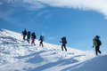 Hikers in a winter mountain ukraine karpaty Stock Photos
