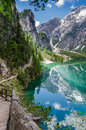 Hiking along the pearl of the dolomites lake braies Royalty Free Stock Photo
