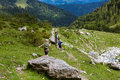 Hiking in the alps father with son and daughter on trip european Royalty Free Stock Photography